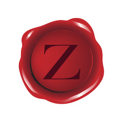 Red seal wax with alphabet letter Z vector