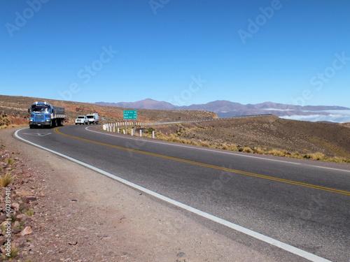 Poster Lorry approaching the summit of Abra de Potrerillos