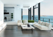 Luxury living room interior with white couch and seascape view - 60289615