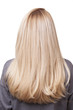 canvas print picture - back of girl with beautiful long blonde hair