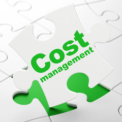 Finance concept: Cost Management on puzzle background