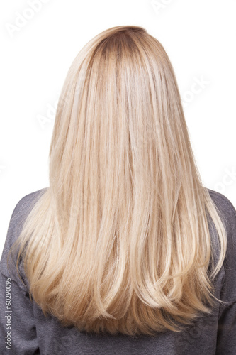 back of girl with beautiful long blonde hair