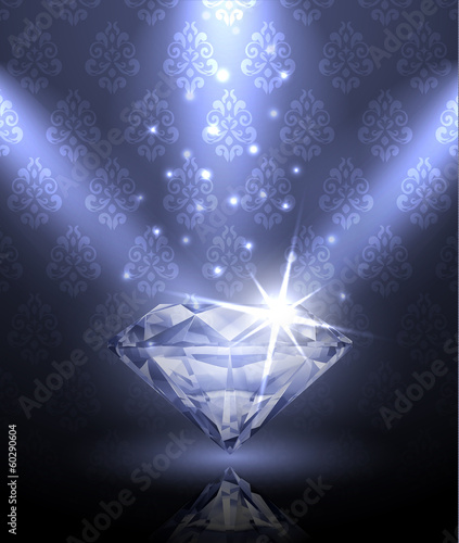Shiny diamond under the spotlights