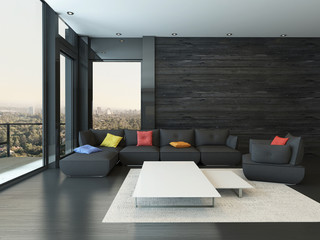 Living room interior with black couch with colored pillows