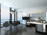 Luxury kitchen interior with modern furniture