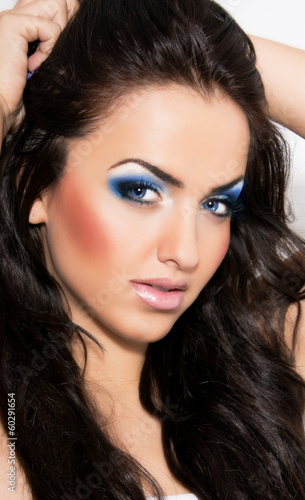 canvas print picture Sexy Beauty Girl with blue eyes
