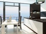 Luxury white kitchen interior with wooden furniture