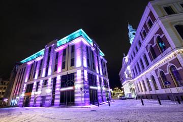 Night view at city hall in Old Riga, Latvia