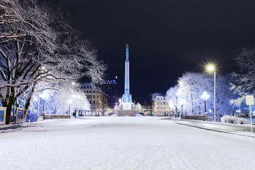 Freedom monument in Riga at winter night