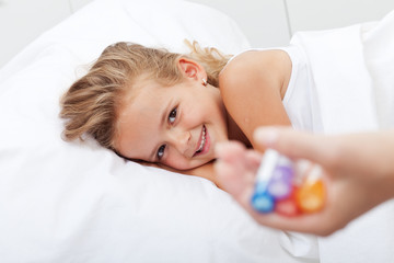 Happy girl recovering from illness with homeopathic medicine