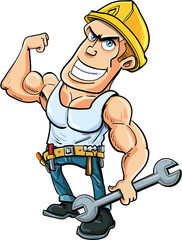 Cartoon handyman flexing his muscles