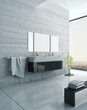 Black and white bathroom furniture with concrete wall