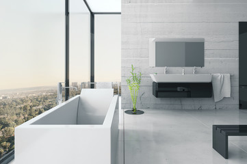 White bathroom interior with concrete walls and tiled floor