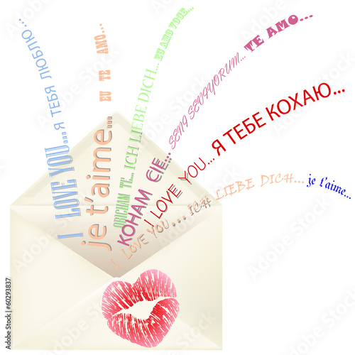Lips print on the envelope with I love you message multilingual