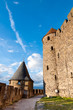 Towers path and walls of  Carcassonne medieval city