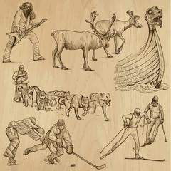 SCANDINAVIA set no.4 - Collection of hand drawn illustrations