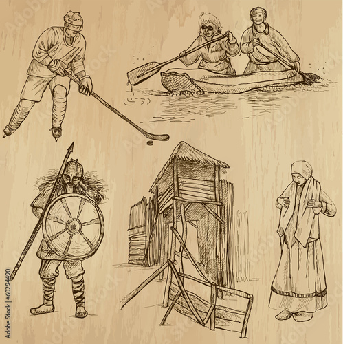 SCANDINAVIA set no.6 - Collection of hand drawn illustrations