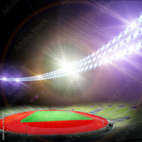 Poster soccer stadium with the bright lights