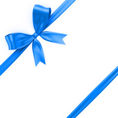 Shiny blue ribbon on white background