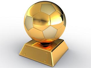 Gold soccer ball on white background #6