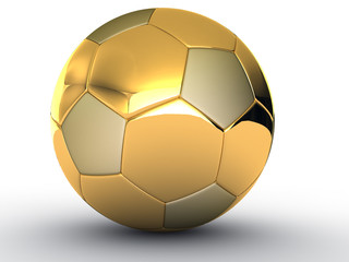 Gold soccer ball on white background #3