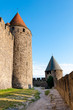 Towers and path on extrenal walls of  Carcassonne medieval city