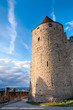 Tower and path on external walls of  Carcassonne medieval city