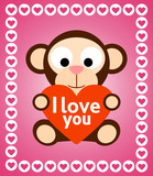 Valentines day background card with monkey