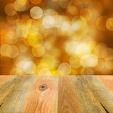 orange yellow bokeh background wooden table