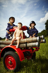 Group of firemen children