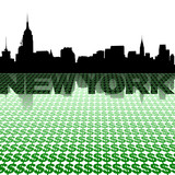 New York skyline reflected with dollar symbols illustration