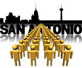 Lines of people with San Antonio skyline illustration