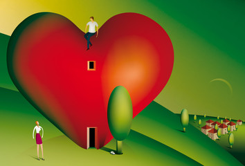 Man sitting on a heart shaped house