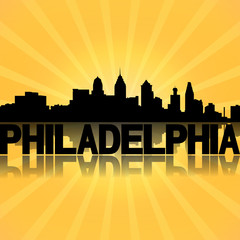 Philadelphia skyline reflected with sunburst illustration