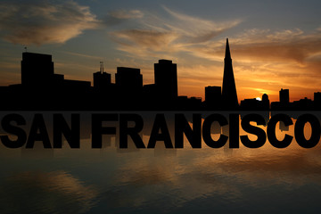 San Francisco skyline reflected text sunset illustration