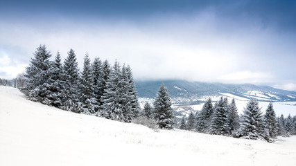 winter scene in mountains