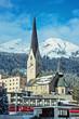 Постер, плакат: St Johann Kirche in der Stadtmitte Davos