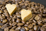 coffee beans, sugar hearts