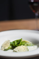 Image of tasty green dumplings with spinach on table