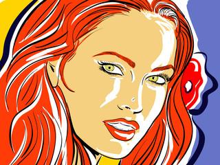femme cheveux roux croquis couleur
