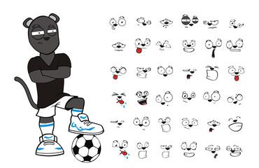 soccer oanther cartoon vector set