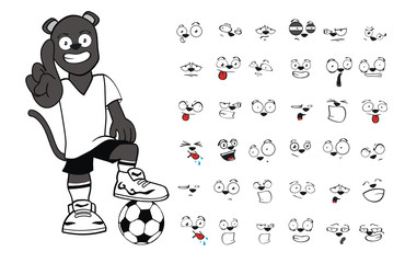 panther cartoon soccer set vecor