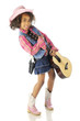 Cowgirl Happily Toting a Guitar