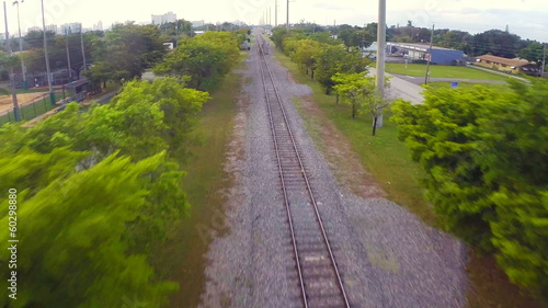 Aerial video footage of railroad tracks