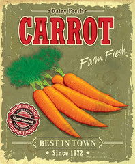 Vintage Farm fresh Carrot poster design