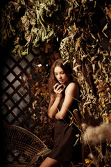 Luxury beauty young woman in a mystical forest