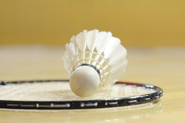 White shuttlecock lay down on racket in gymnasium