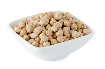 Closeup of a bowl with chickpeas