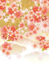 雲_桜舞う