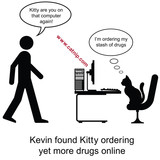 Kevin found Kitty ordering drugs cartoon